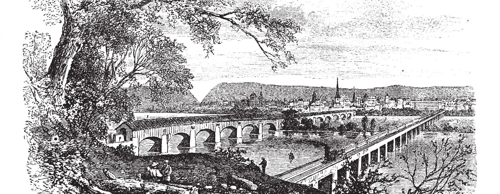 Harrisburg,Pennsylvania, United States View from the left bank of the Susquehanna vintage engraving. Old engraved illustration of bridges across the river at harrisburg, during 1890s.